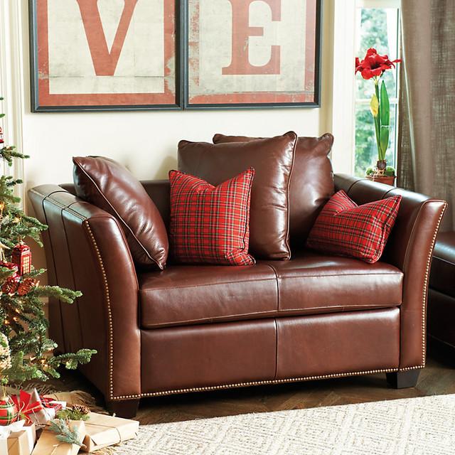 Tate Leather Twin Sleeper Transitional Sleeper Sofas