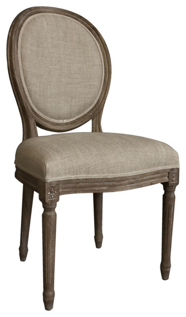Casual Living Vintage French Round Back Upholstered Linen Dining Chairs Traditional