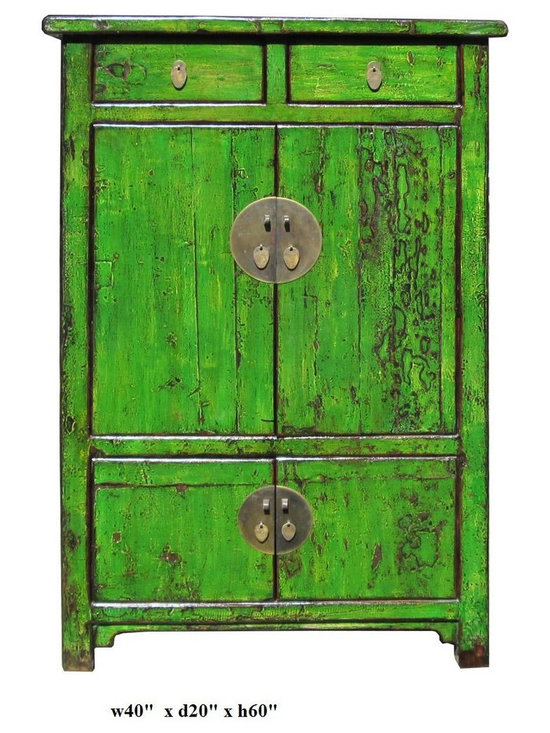 Chinese Bright Green Lacquer Restored Cabinet - This is an old Chinese cabinet restored and painted in modern lacquer color. It is a new alternative for combining old and new , east and west.