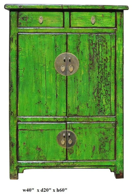 Chinese Bright Green Lacquer Restored Cabinet Asian