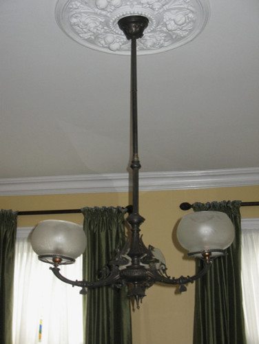 3-Light Neo Grec Egyptian Revival Gas Chandelier -Circa 1860 eclectic