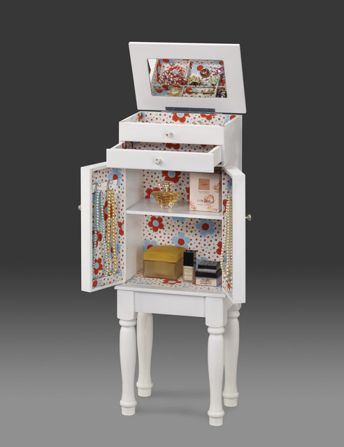 Terrin White Youth Jewelry Armoire transitional-jewelry-armoires