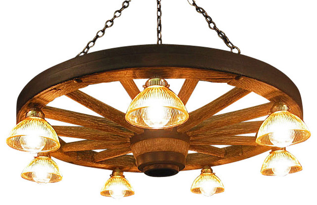 Large Wagon Wheel Chandelier with Down Lights - Rustic - Chandeliers - by Muskoka Lifestyle Products