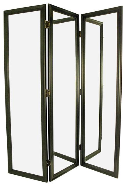 Wayborn mirror with frame full size dressing room divider - Room divider picture frames ...