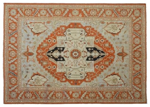 Orange Fine Zero Pile Serapi Hand Knotted Rug Sh8313 traditional-area-rugs