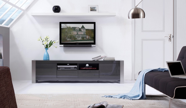 B-Modern Composer Grey High-Gloss TV Stand - Modern - Entertainment Centers And Tv Stands - new ...