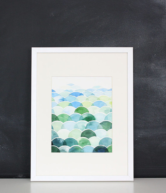Handmade Watercolor Abstract Blue and Green Painting by Yao Cheng Design contemporary-artwork
