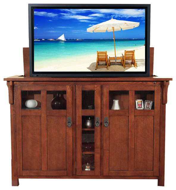 "Bungalow Chestnut TV Lift Cabinet for Flat Screen up to 60"" - Craftsman - Entertainment Centers ..."