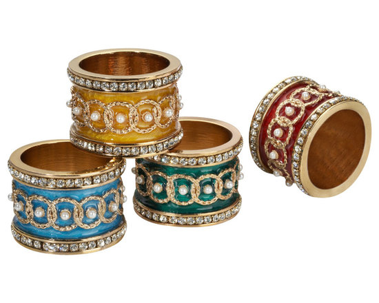 IMPERIAL COURT, INC. - Imperial Napkin Holders Set Of 4 Assorted - Set of 4 assorted color napking holders decorated with wreaths, crystals and pearls. Hand crafted with 24K gold plating and enamel guilloch��_. Arrive boxed in burgundy velvet box with gold interior.