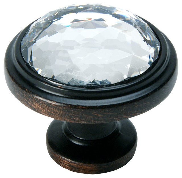Cosmas Oil-Rubbed-Bronze and Clear Glass Round Cabinet Knob - Transitional - Cabinet And Drawer ...