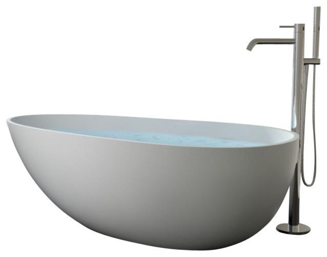 ... Stone Resin Freestanding Bathtub, Matte, Extra Large modern-bathtubs