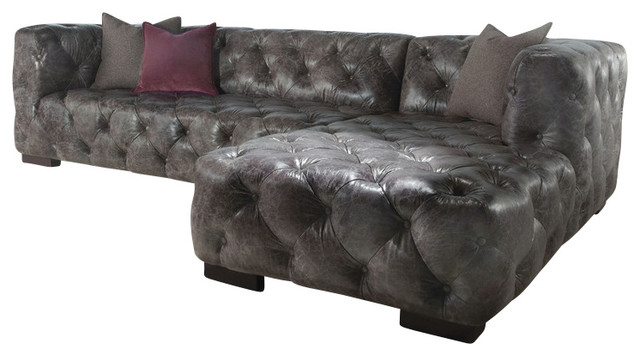Grey vintage dublin leather chesterfield sofa chaise 2pc for Grey traditional sofa