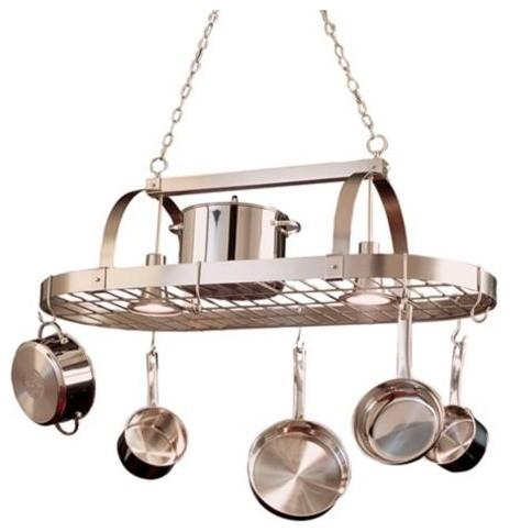 nickel pot rack chandelier contemporary pot racks. Black Bedroom Furniture Sets. Home Design Ideas
