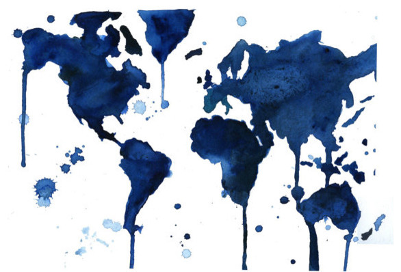 Watercolor World Map By Jessica Durrant eclectic-artwork