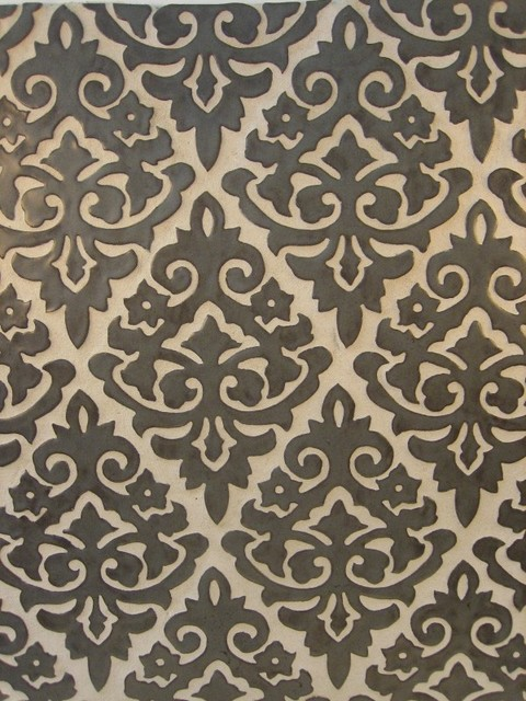 Damask eclectic bathroom tile