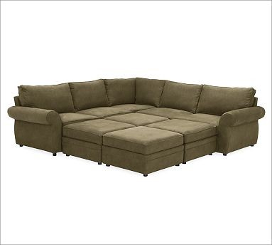 Pearce Upholstered 6-Piece Pit Sectional, Velvet Sage ...