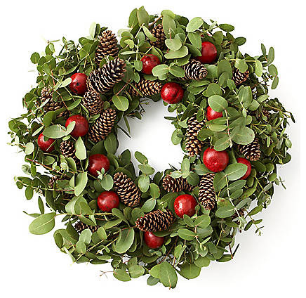 Fresh eucalyptus with cones and bell fruit traditional Traditional outdoor christmas decorations
