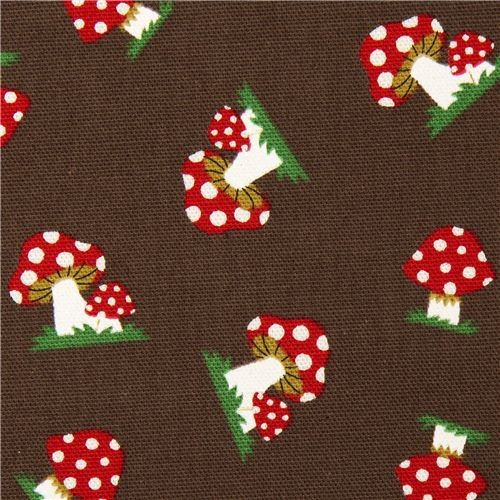 brown Kokka oxford fabric with toadstools from Japan  fabric