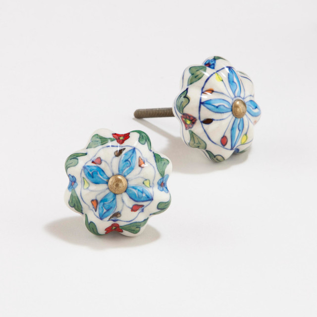 Green Blue Floral Watermelon Ceramic Knobs Eclectic