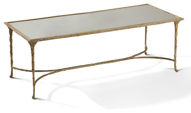 Delano Hollywood Regency Antique Gold Sculpted Leaf Mirrored Coffee Table Transitional
