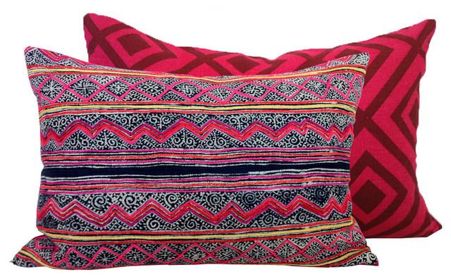 Chevron Embroidered Batik eclectic-pillows