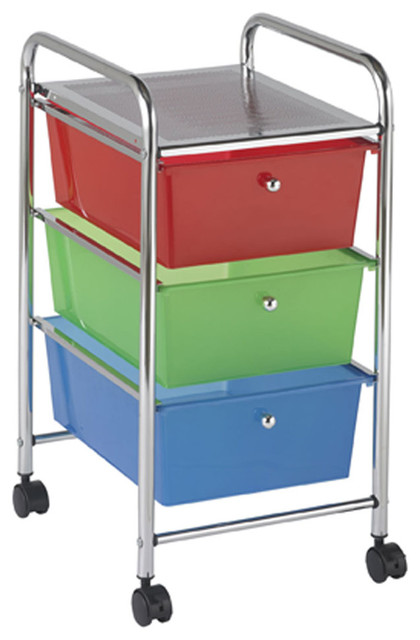 Ecr4Kids Preschool File Cart With 3 Drawer Rolling Mobile ...