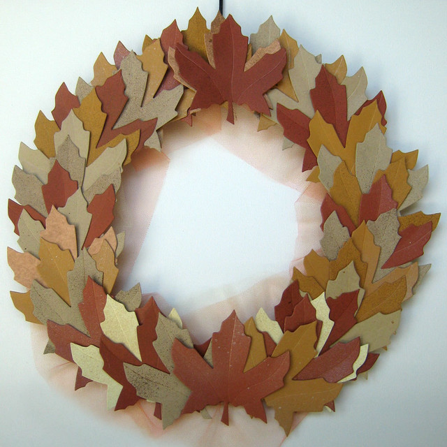 Autumn Harvest Leaves Fall Wreath by Bubble Gum Dish modern-holiday-decorations