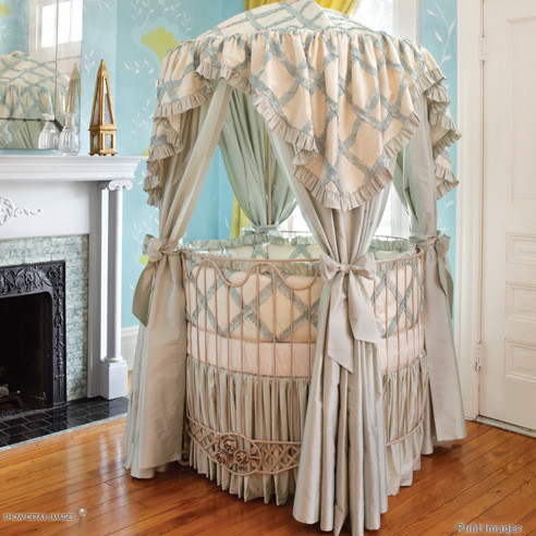 Addison Floral Round Iron Canopy Crib eclectic-cribs