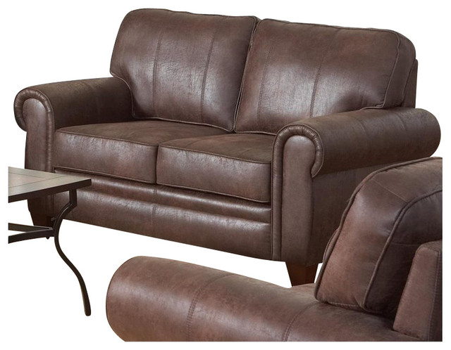 Coaster bentley rustic styled microfiber loveseat in brown for Coaster transitional styled sectional sofa sleeper in brown