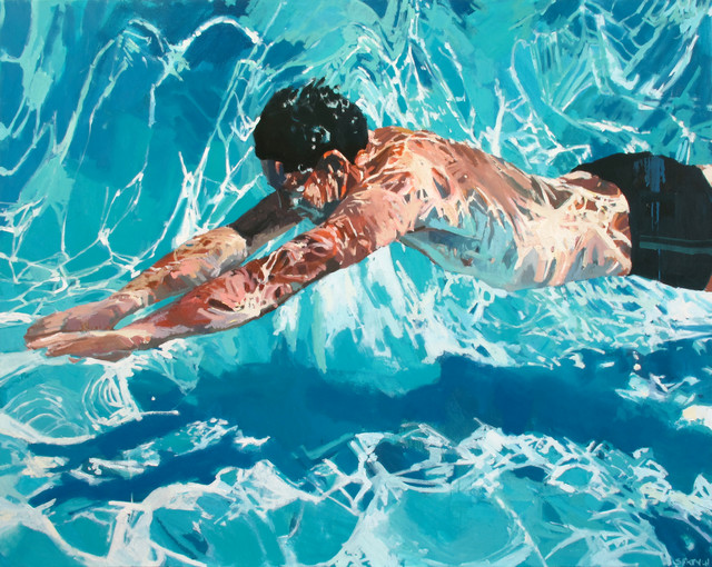 Underwater Swimmer Oil Paintings - Contemporary - Artwork - new york - by Samantha French Art