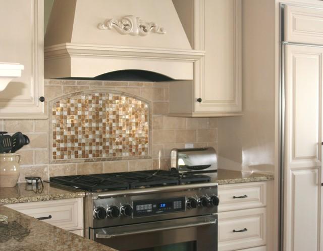 traditional glass and stone kitchen backsplash