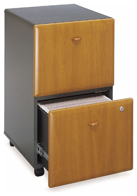 Mobile Cherry Colored Two Drawer Filing Cabin - Contemporary - Filing Cabinets - by ivgStores