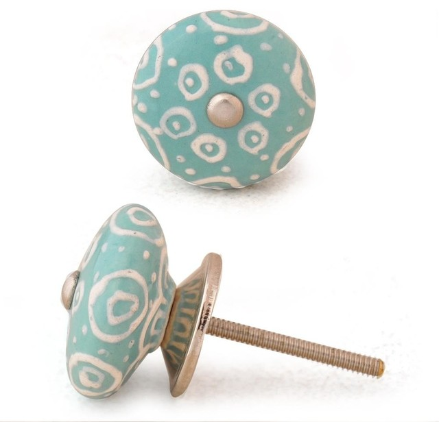 Ceramic Knob, White with Dark Sea Green Base - Eclectic - Cabinet And Drawer Knobs - by Knobco