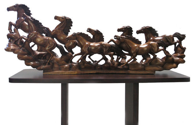 Hand carved horse modern decorative objects and for Modern home decor objects