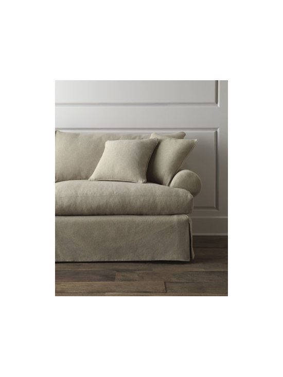 Horchow - Keystone Sofa - Overstuffed sofa with dressmaker-style skirt invites you to snuggle in and stay awhile. Its neutral coloration lets it blend well with a variety of decorating styles. Handcrafted engineered hardwood frame with cotton/polyester/acrylic upholstery. Feat...