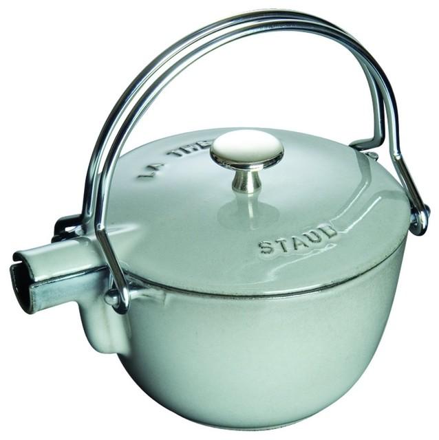 Staub 1 Quart Round Teapot, Graphite Grey traditional-kettles