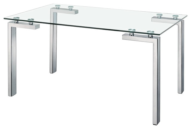 Roca Stainless Steel And Glass Dining Table Contemporary Dining Tables