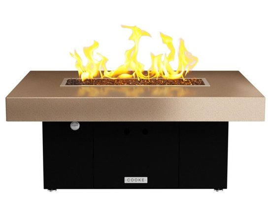 COOKE - Santa Barbara Rectangular Fire Pit Table - Beige Top, Black Base - We know it is hard to find that big bold look at a small price point and still have a quality product so we took styling from our designer collection and brought it to our So Cal line so we could offer just that!