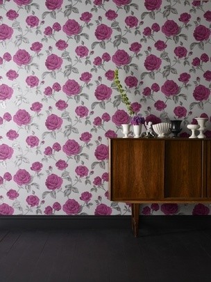Graham & Brown Countess: Plum/Charcoal Wallpaper Purple,Graphite Floral contemporary-wallpaper