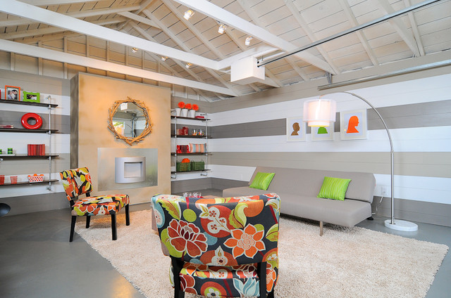 HGTV Garage Turned Lounge modern