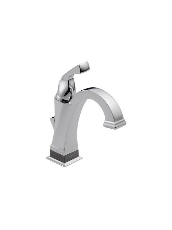 "Delta - Delta 551T-DST Chrome Dryden Dryden Single Hole Bathroom Faucet with - Product Features:  Made in the USA (Manufacturing plants: Greensburg, Indiana: Jackson, Tennessee) Fully covered under Delta s limited lifetime warranty All-brass faucet construction Superior finish process - faucet finish covered under lifetime warranty Dryden s clean, geometric lines are reminiscent of the Art Deco period of the  20s and  30s Single handle operation Includes optional escutcheon (cover plate) – for sinks with 3 faucet holes (4"" centers) Battery operated LED light indicates touch-activation or proximity-activation mode ADA compliant – complies with the standards set forth by the Americans with Disabilities Act for bathroom faucets Low lead compliant - complies with federal and state regulations for lead content WaterSense Certified product – using at least 30% less water than standard 2.2 GPM faucets, while still meeting strict performance guide lines Designed to easily connect to standard U.S. plumbing supply bibs Extra secure mounting assembly All hardware needed for mounting is included with faucet  Product Technologies:  Touch2O: Delta's famous Touch2O technology is now available in the bath. Tap anywhere on the spout or handle to start the flow of water. Touch2O faucets include an LED indicator light at the base of the faucet which lets you know the touch feature is active while also making the statement that you ve got the latest-and-greatest in faucet technology. Touch2O bathroom faucets are designed to be easy enough to install that the typical homeowner can do it in less than an hour. Electricians are not required. Touch2Oxt: Hands-Free Technology option that expands upon Touch2O technology. With Touch2Oxt, your entire faucet acts as a sensor so the water starts flowi"
