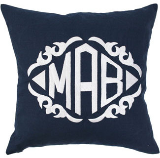Monogrammed Navy Linen Throw Pillow modern pillows