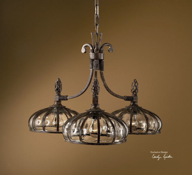 Galeana Bronze 3 Lt Chandelier With Mouth Blown Glass 1