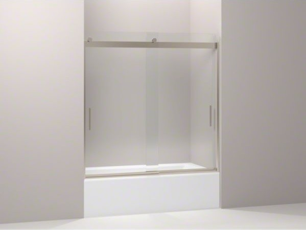 "KOHLER Levity(R) sliding bath door, 59-3/4"" H x 56-5/8 - 59-5/8"" W, with 1/4"" th contemporary-bath-products"