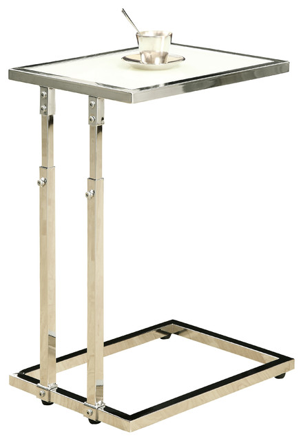 Chrome Metal Adjustable Height Accent Table Tempered