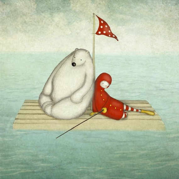 Calm water, A Polar Bear And His Little Friend On The Raft By majalin contemporary-artwork