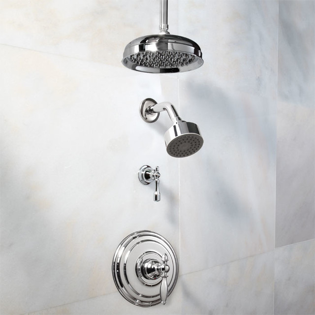 Dolce Pressure Balance Shower System With Dual Shower Heads - Lever Handle contemporary-showers