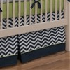 Navy and Citron Zig Zag Crib Bedding contemporary