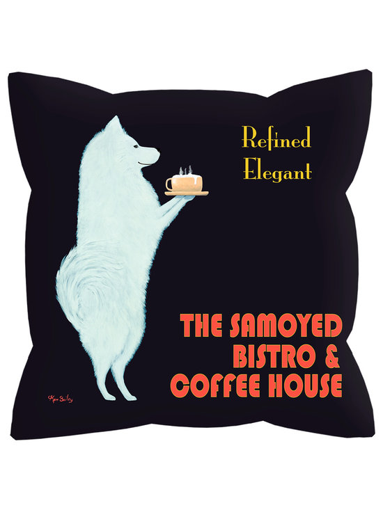 """Samoyed Bistro Pillow - Samoyed Bistro........ 18"""" x 18"""" pillow with concealed zipper and feather & down insert (95/5). 100% Eco friendly material printed with non toxic, non fading dyes.Front 100% polyester from recycled plastic bottles. Back 65% polyester from recycled plastic bottles; 35% organic cotton.  Artwork by Ken Bailey and made in America."""