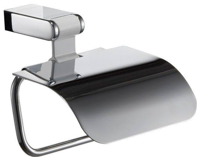 Iris Toilet Paper Holder with Lid. White & Polished Chrome transitional-toilet-paper-holders